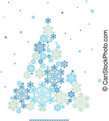 stylized silhouette of Christmas tree formed by snowflakes -...