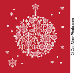 stylized silhouette of hanging ball formed by snowflakes -...