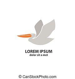 stylized, silhouette, pelican.