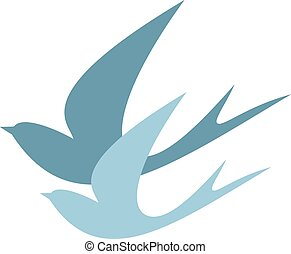 stylized silhouettes of two swallows on a light background