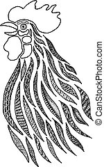 Stylized Singing rooster - Stylized drawing of a rooster ...