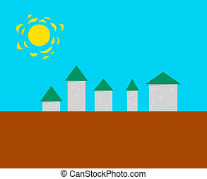 Stylized small town - vector illust