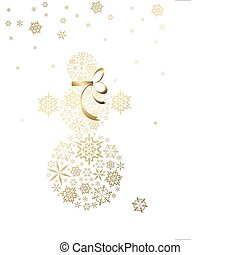 snowman made from golden snowflakes
