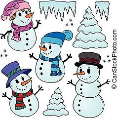 Stylized snowmen theme drawings 1 - eps10 vector...