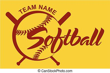 softball - stylized softball team design with ball and bats...
