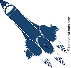 Stylized space shuttle over white background