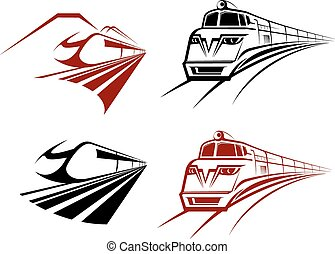 Stylized speeding train or subway icons receding perspective...