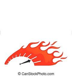 speedometer - stylized speedometer on fire icon