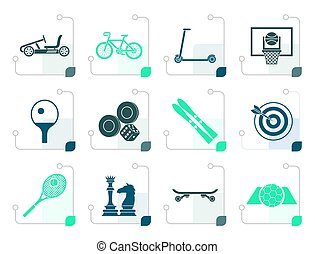 Stylized sports equipment and objects icons