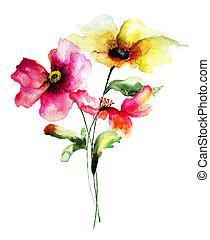 Stylized Spring flowers, watercolor illustration