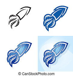 Stylized squid set. Vector illustration.