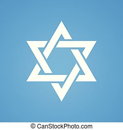 Stylized Star of David white color on blue background. Tanah...
