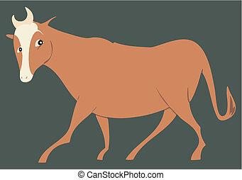 Head turned brown stylized steer