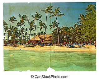 stylized, stol, bungalows., grunge, vykort, strand, träd, ...
