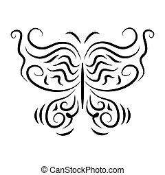 Stylized stylish decorative butterflies isolate