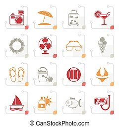 Stylized Summer and beach icons
