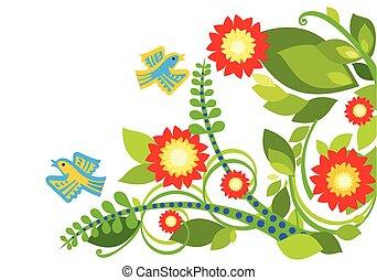 Stylized summer flowers & birds