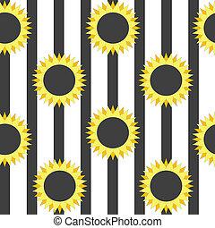 Stylized sunflower on striped background