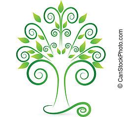 stylized, swirly, träd, logo