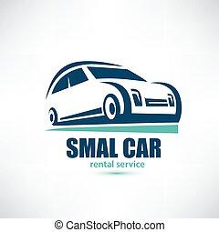 stylized symbol of midget car, micro automobile logo template