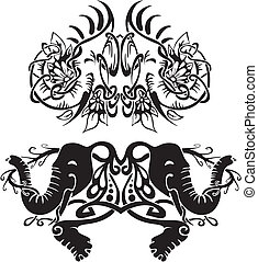 Stylized symmetric vignettes with elephants. Vector...
