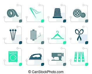 stylized, têxtil, objetos, e, indústria, ícones
