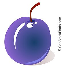 plum - Stylized tasty plum isolated on a white background.