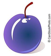 plum - Stylized tasty plum isolated on a white background.