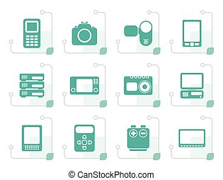 Stylized technical, media and electronics icons
