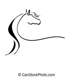 stylized, tekening, van, een, paarde