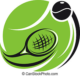 Stylized tennis icon with a green tennis ball superimposed with a curved racquet and ball with motion trails, isolated on white