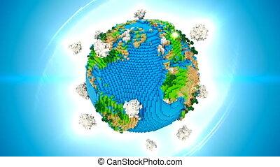stylized, terra, girar, ligado, azul, loop., globo, é, centrado, em, quadro, com, correto, rotação, em, seamless, loop.