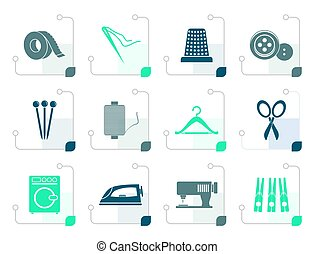 Stylized Textile objects and industry icons