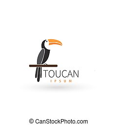 Stylized toucan logo design template. Artistic bird silhouette. Creative concept logotype for your company. Vector illustration.