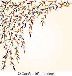 stylized, träd, bladen, grenverk
