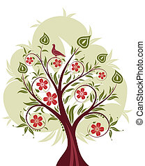 stylized, træ