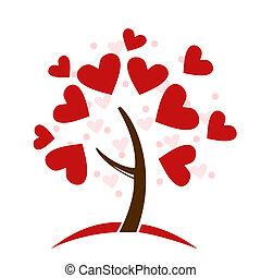 stylized, træ, lavede, elsk hjerter