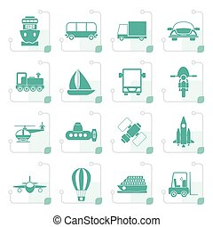 Stylized Transportation, travel and shipment icons
