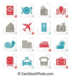 Stylized travel, transportation and vacation icons
