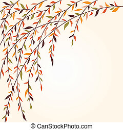 Stylized tree branches with leaves. Autumn