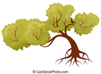 Stylized Tree with leafs and bird, for design