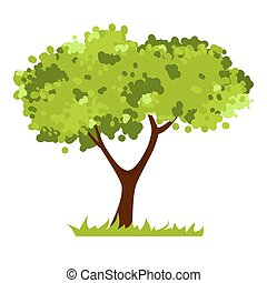 Stylized tree isolated on white background.