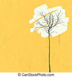 Stylized tree. Retro background. Vector