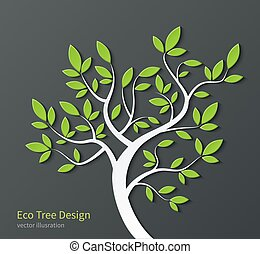 Stylized tree with branches and green leaves