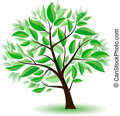 Stylized tree with green leaves. Illustration on white...