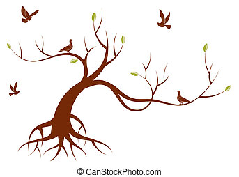 Stylized Tree with leafs and bird, for design, vector ...