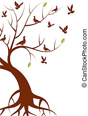 Stylized Tree with leafs and bird, for design, vector...