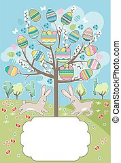 Stylized tree with rabbits - greeting card