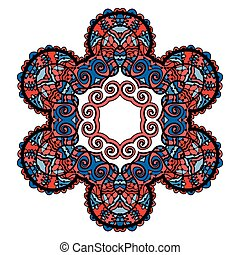 Stylized tribal mandala, circle decorative spiritual indian symbol of lotus flower, round ornament pattern, vector illustration over white background with red and blue color.