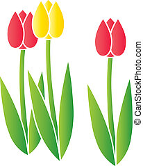 Stylized Tulips - Three stylized blooming tulips done in a...